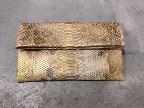 Leon Small Python Clutch Gold