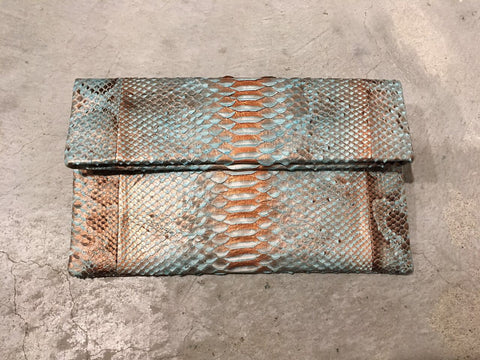 Leon Small Python Clutch Blue Gold