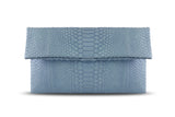 Light Blue Leon Python Mini Clutch