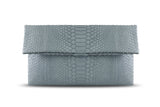 Light Grey Leon Python Small Clutch