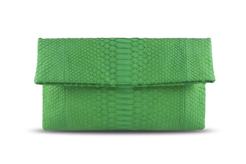 Bamboo Green Henri Python Large Clutch