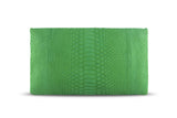 Bamboo Green Leon Python Mini Clutch