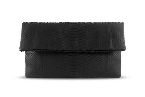 Black Leon Python Small Clutch