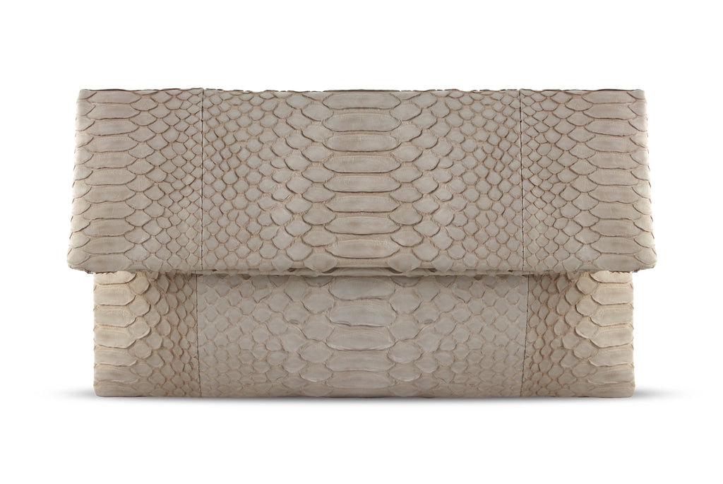 Light Pink Henri Python Large Clutch