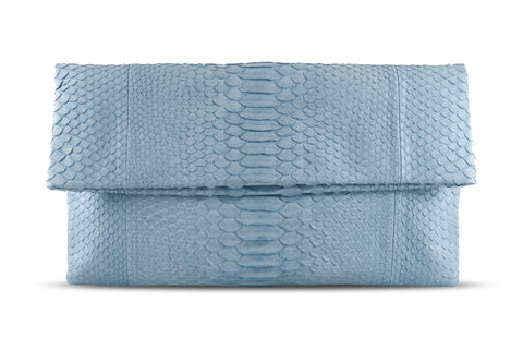 Light Blue Henri Python Large Clutch