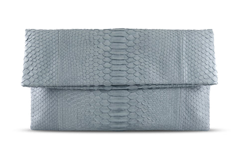 Light Grey Henri Python Large Clutch