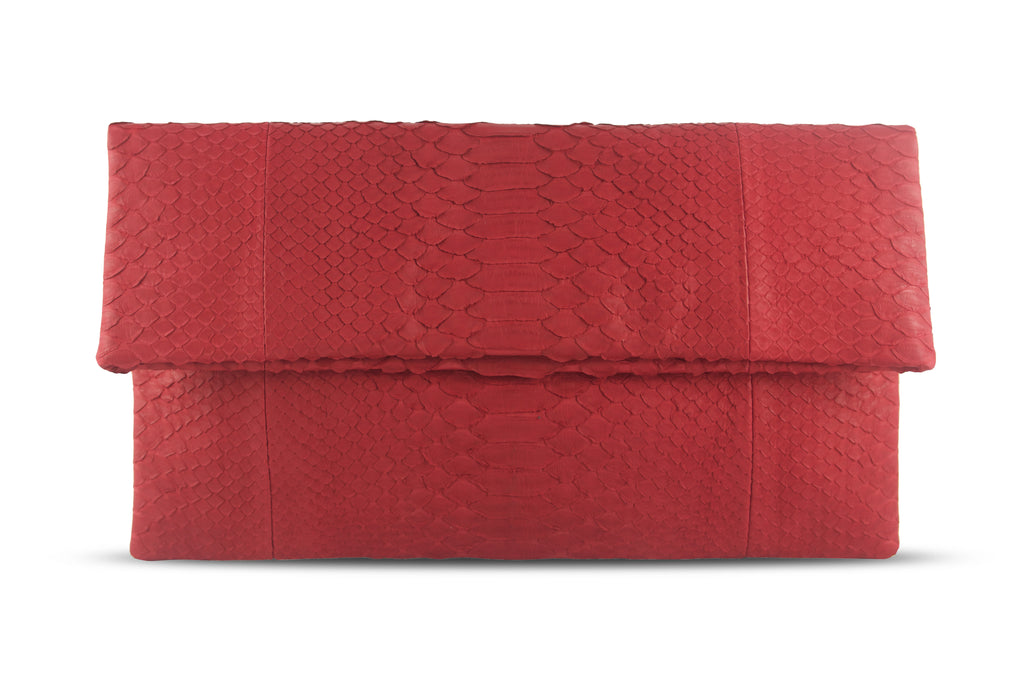 Henri Large Python Clutch Red