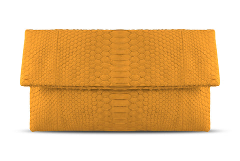 Orange Henri Python Large Clutch
