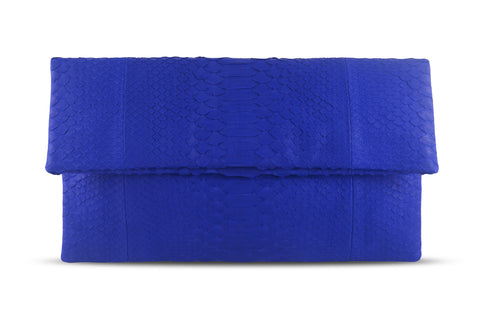 Electric Blue Henri Python Large Clutch