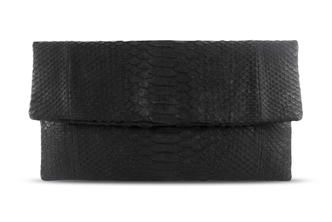 Black Henri Python Large Clutch