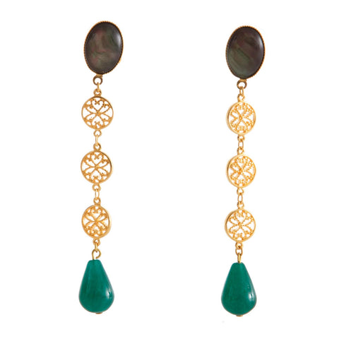 NOOR Earring Gold-Plated Black and Green