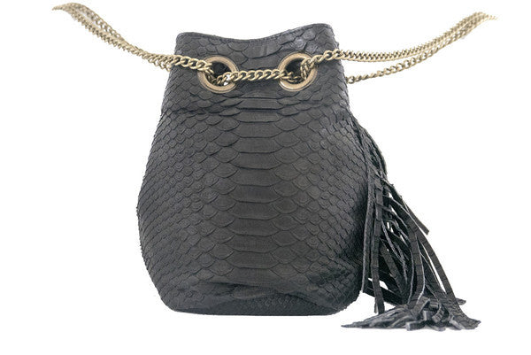 Black Paul Python Fringed Bucket Bag - art of shop  - 4