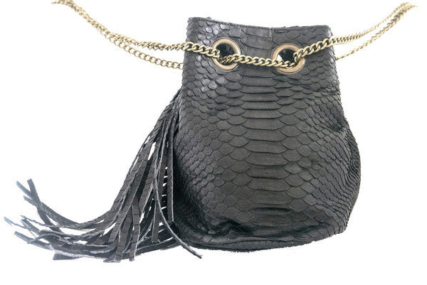 Black Paul Python Fringed Bucket Bag - art of shop  - 3