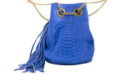 Electric Blue Paul Python Fringed Bucket Bag - art of shop  - 5