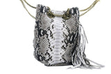 Natural Paul Python Fringed Bucket Bag - art of shop  - 3