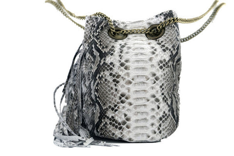 Natural Paul Python Fringed Bucket Bag - art of shop  - 2
