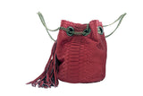 Red Paul Python Fringed Bucket Bag - art of shop  - 5
