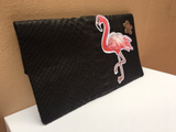 Black Flamingo Leon Python Mini Clutch customized by Fedri