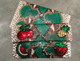 Green Motif Leon Small Patched Clutch customized by Suzette Creative Team