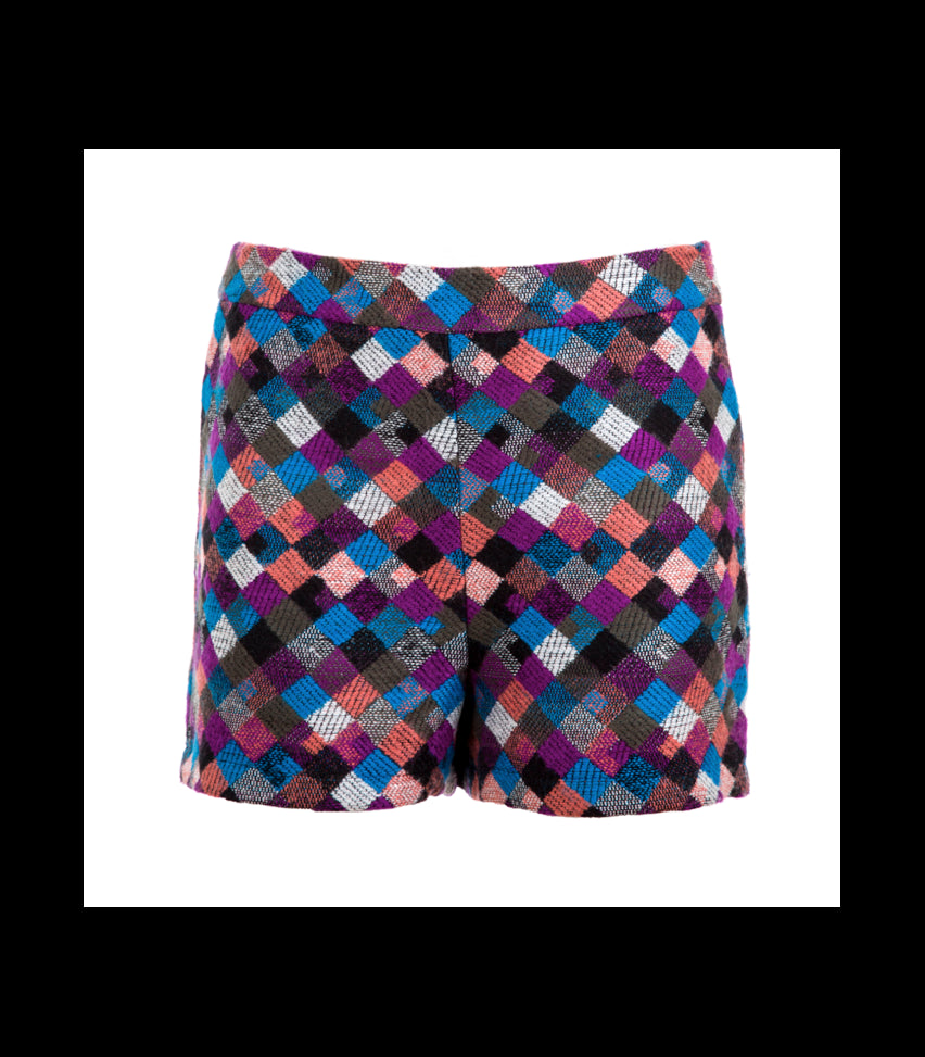 CHECKERED HIGH WAISTED SHORTS - art of shop