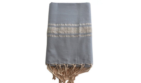 Fouta Lurex – Dusk blue & silver band - art of shop
