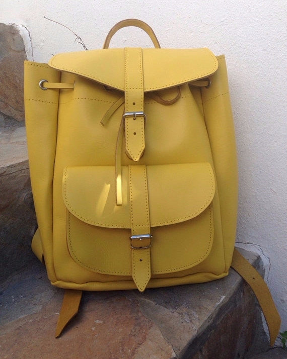 Leather Backpack in Yellow - art of shop  - 1