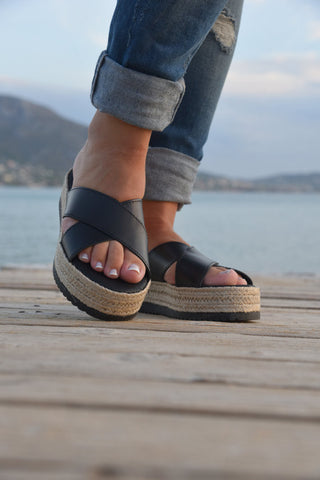 Black X Strap Espadrille - art of shop  - 1
