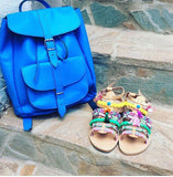 Blue Leather Backpack - art of shop  - 1