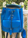 Blue Leather Backpack - art of shop  - 3