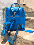 Blue Leather Backpack - art of shop  - 5