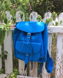 Blue Leather Backpack - art of shop  - 4