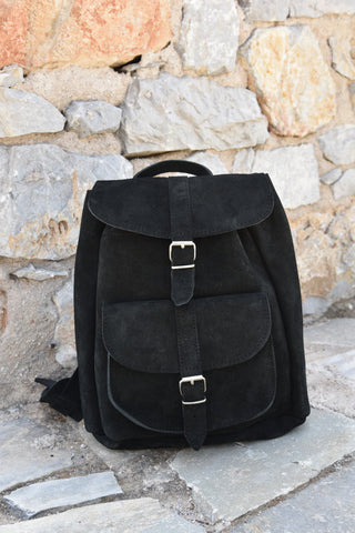 Black Leather Backpack in Suede - art of shop  - 1