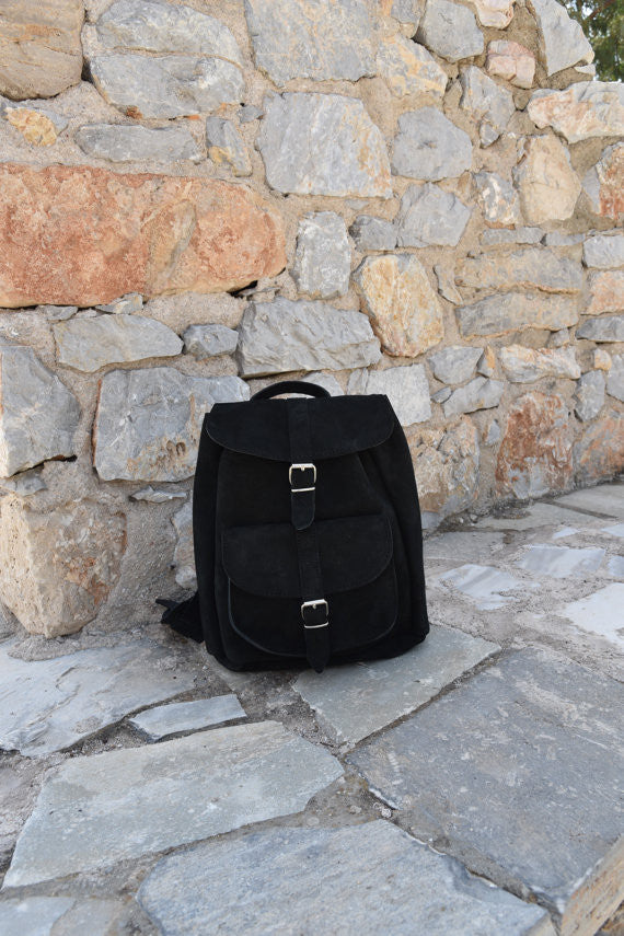 Black Leather Backpack in Suede - art of shop  - 2