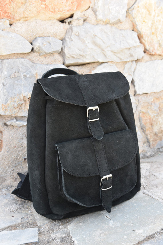 Black Leather Backpack in Suede - art of shop  - 3