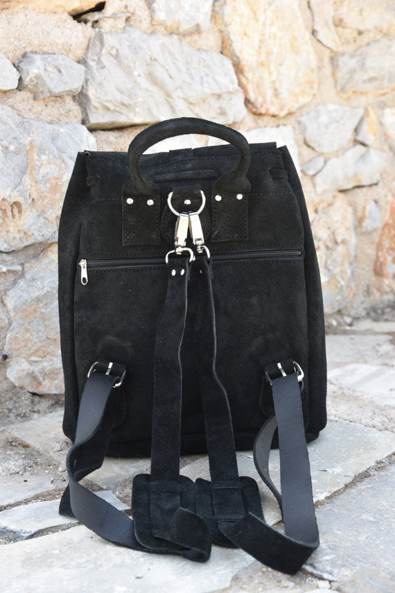Black Leather Backpack in Suede - art of shop  - 5