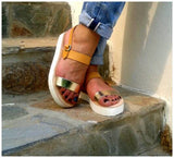 Thick Strap Sandals with platform - natural and gold - art of shop  - 1