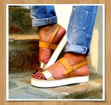Thick Strap Sandals with platform - natural and gold - art of shop  - 3