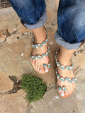 Blue Flower Decorated Sandals - art of shop  - 2
