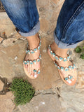 Blue Flower Decorated Sandals - art of shop  - 3