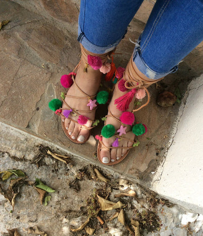 Colorful Pom Pom Sandals