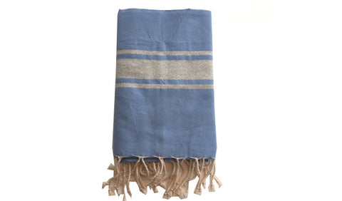 Fouta Lurex – Lavender & silver band - art of shop