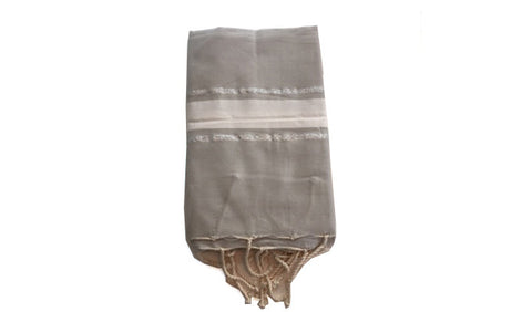 Fouta Lurex – Light grey & 2 silver lines - art of shop