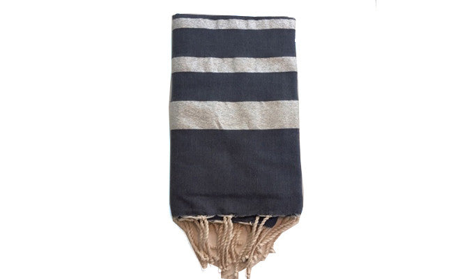 Fouta Lurex – Navy & 3 silver lines - art of shop