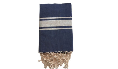Fouta Lurex – Navy & silver band - art of shop