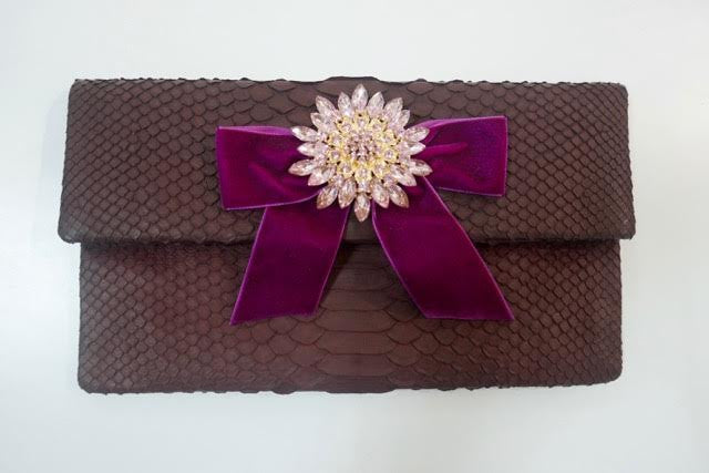 Burgundy Leon Small Diamond Clutch