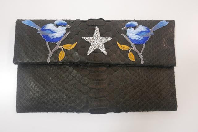 Black Leon Small Patched Clutch customized by Suzette Creative Team