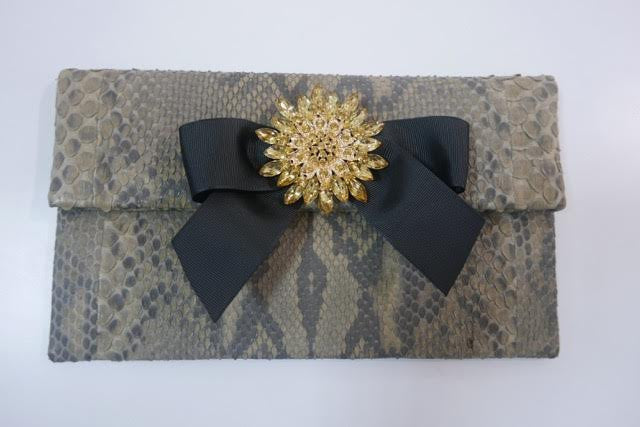 Brown Motif Leon Small Diamond Clutch