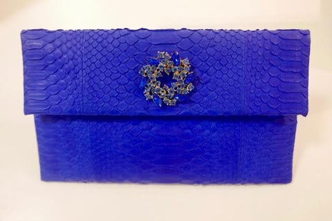 Blue Leon Small Diamond Clutch