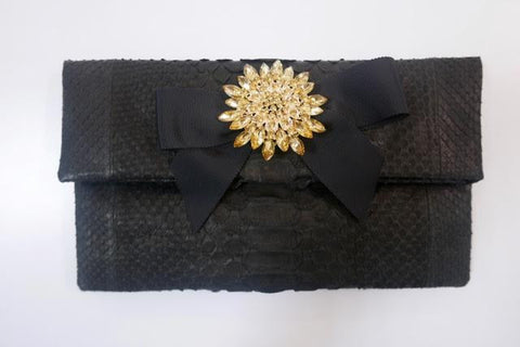 Black Leon Small Diamond Clutch