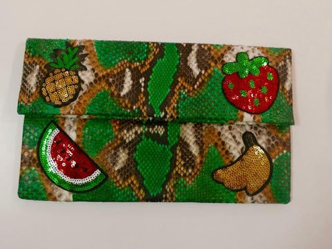 Green Leon Small Patched Clutch customized by Suzette Creative Team